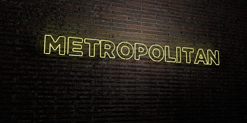 - Insegna al neon realistica sul fondo del muro di mattoni - 3D METROPOLITANO ha reso l'immagine di riserva libera della sovranit illustrazione di stock