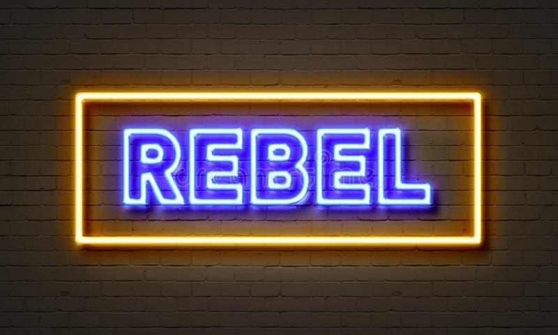 Insegna al neon ribelle sul fondo del muro di mattoni royalty illustrazione gratis