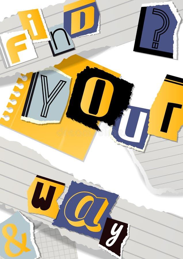 Insegna alfabetica del collage, illustrazione di vettore del manifesto Parole tagliate dalle forbici da carta variopinta Pezzi di royalty illustrazione gratis