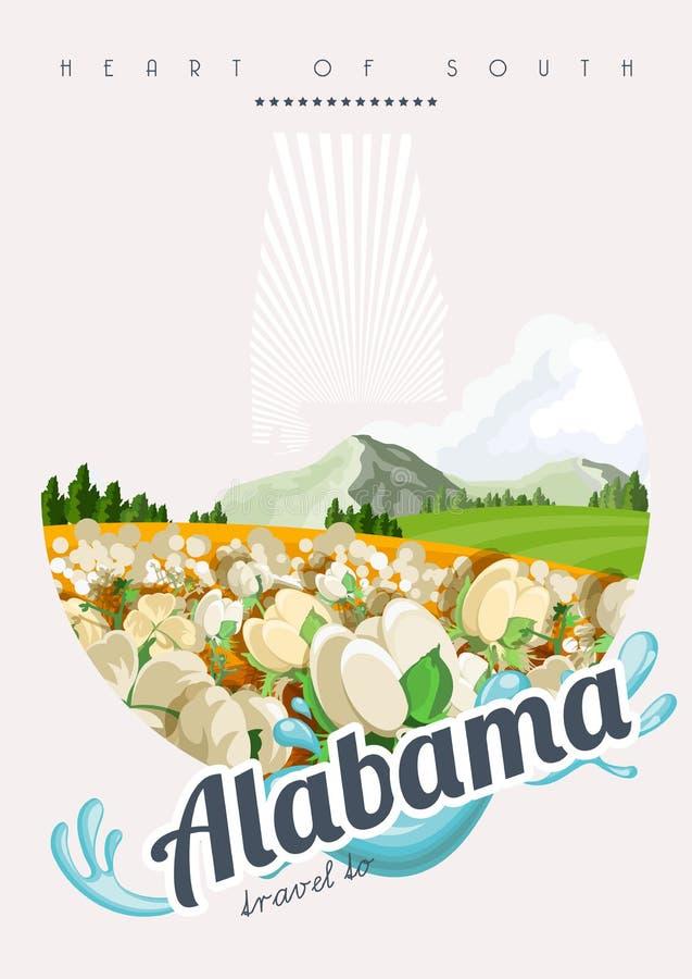 Insegna americana di viaggio dell'Alabama Viaggio nell'Alabama illustrazione di stock