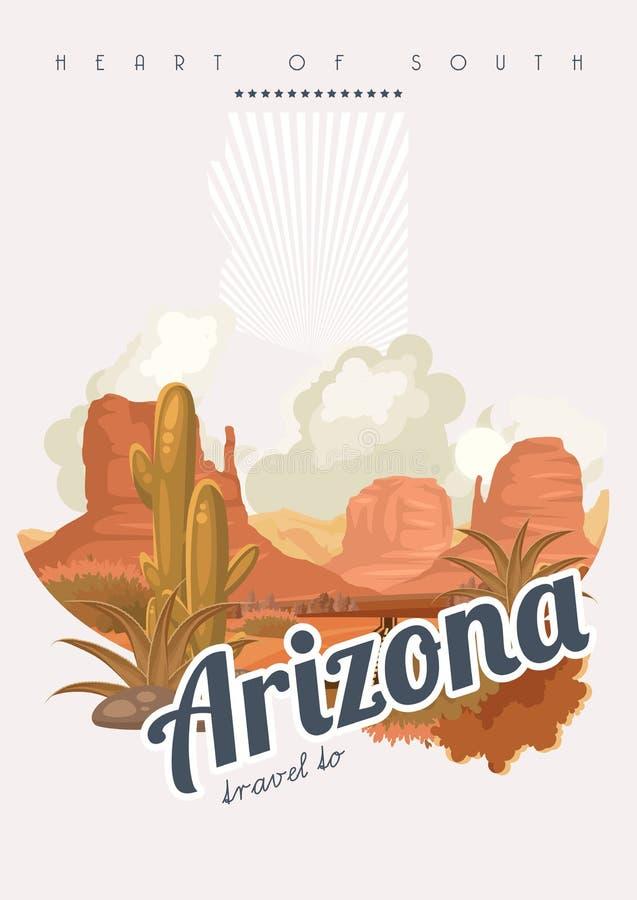 Insegna americana di viaggio dell'Arizona Cuore del manifesto del sud illustrazione di stock