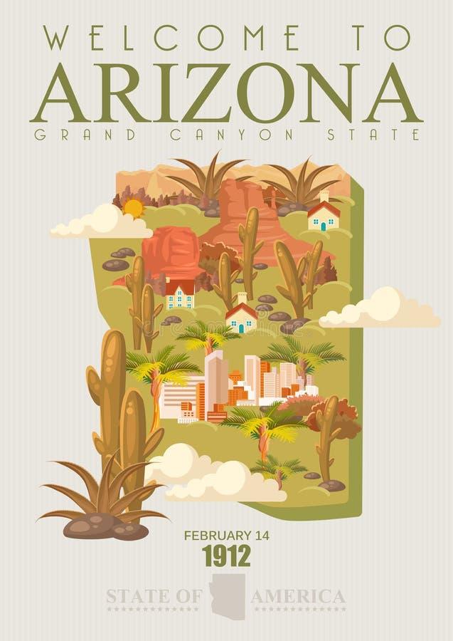Insegna americana di viaggio dell'Arizona Stato del Grand Canyon illustrazione vettoriale