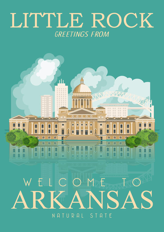 Insegna americana di viaggio dell'Arkansas Little Rock royalty illustrazione gratis