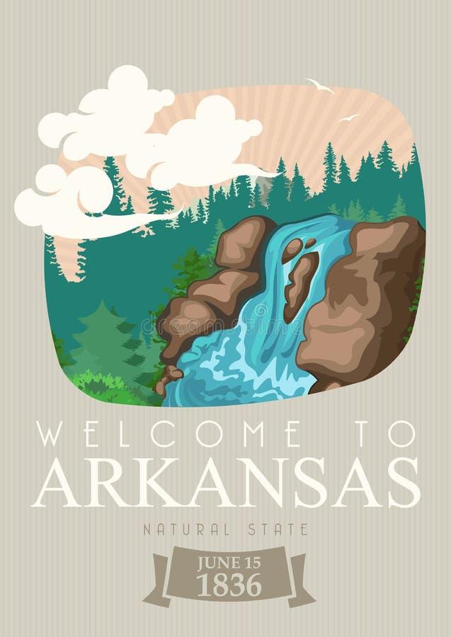 Insegna americana di viaggio dell'Arkansas Stato naturale illustrazione di stock