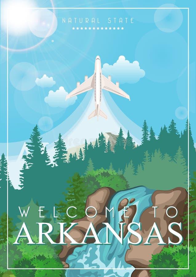 Insegna americana di viaggio dell'Arkansas Stato naturale Manifesto dell'Arkansas con l'aeroplano illustrazione di stock