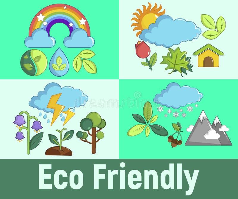Insegna amichevole di concetto di Eco, stile del fumetto illustrazione vettoriale