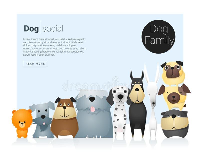 Insegna animale con i cani per web design 9 illustrazione di stock