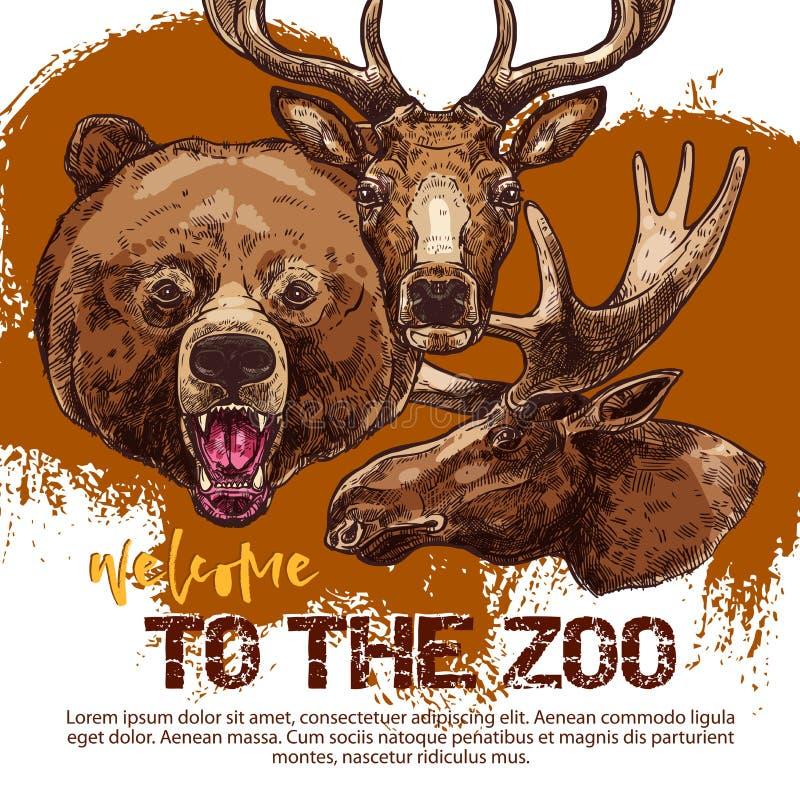 Insegna animale dello zoo con l'orso schizzato, caro e gli alci illustrazione di stock