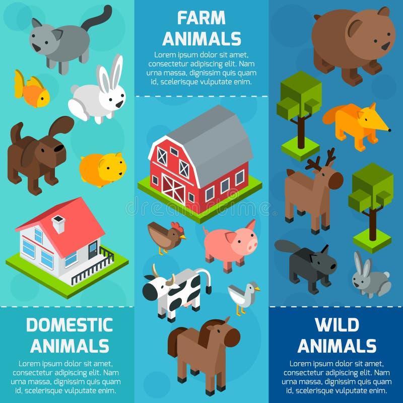 Insegna animale isometrica illustrazione di stock