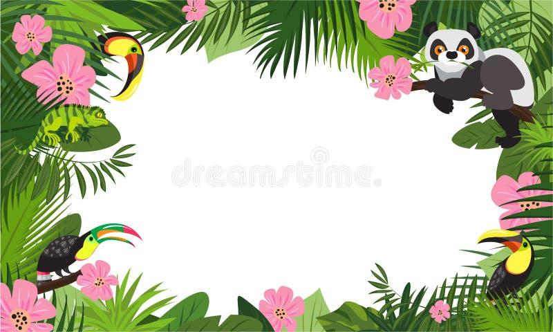 Insegna animale tropicale di concetto della foresta pluviale, stile del fumetto illustrazione vettoriale