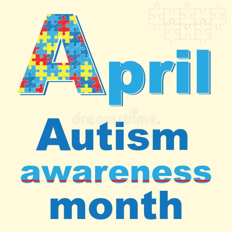 Insegna aprile - mese di consapevolezza di autismo illustrazione vettoriale