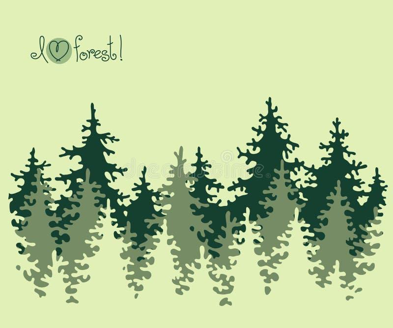 Insegna astratta della foresta di conifere illustrazione vettoriale