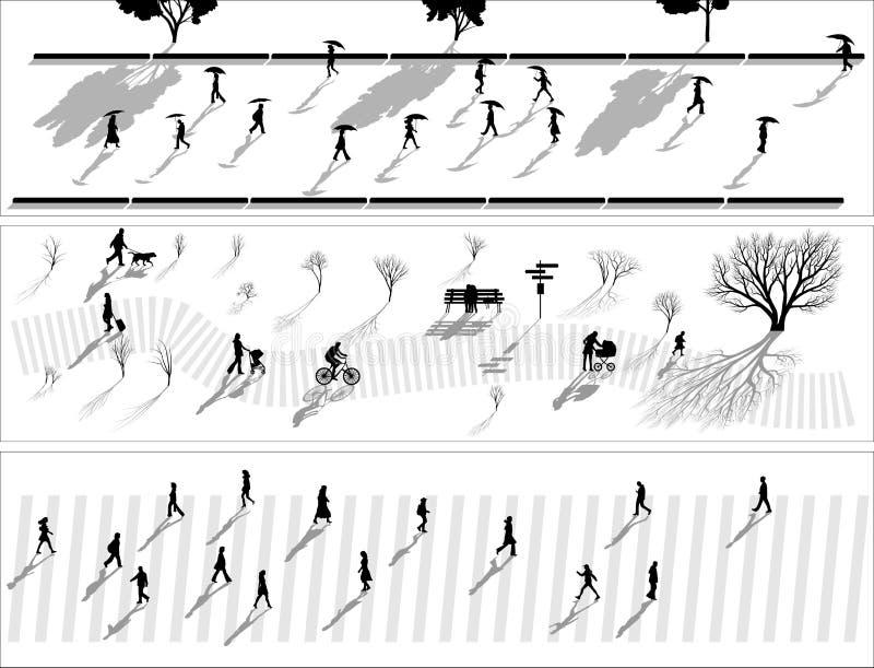 Insegna astratta delle siluette della gente della folla con le ombre. illustrazione vettoriale