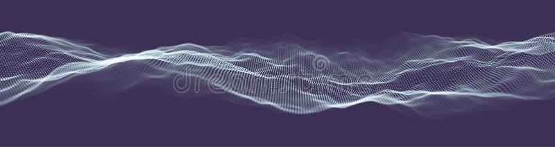 Insegna astratta di web di tecnologia Griglia del fondo 3d Wireframe futuristico della rete del cavo di tecnologia di Ai Intellig royalty illustrazione gratis