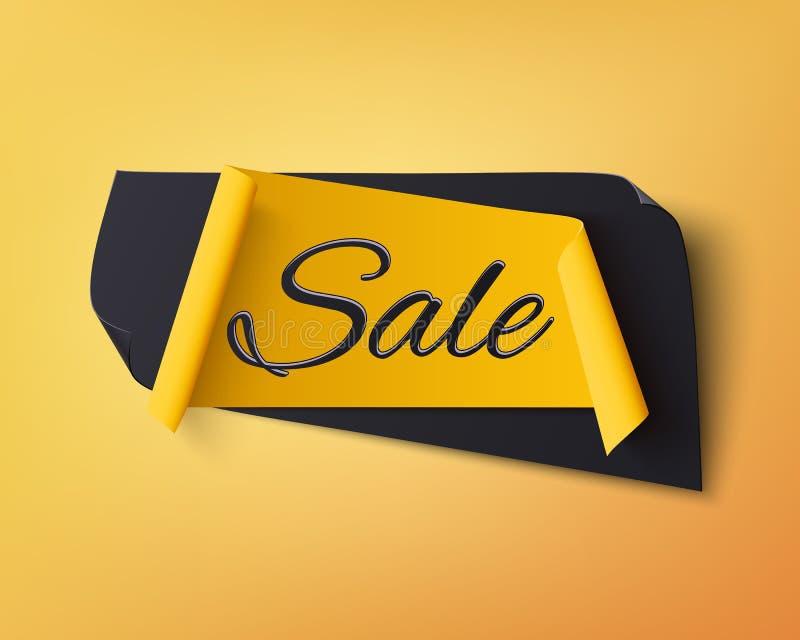 Insegna astratta nera e gialla di vendita illustrazione di stock