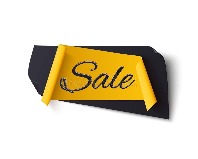 Insegna astratta nera e gialla di vendita, isolata su bianco illustrazione di stock