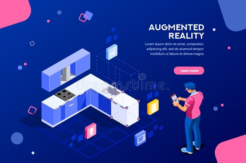 Insegna aumentata della pagina Web di realtà illustrazione di stock