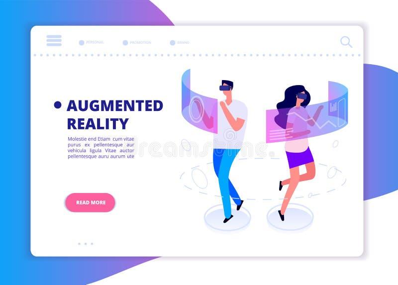 Insegna aumentata di realtà La gente con la cuffia avricolare ed il gioco di vetro del vr nella realtà virtuale Vettore futuristi royalty illustrazione gratis