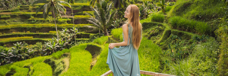 INSEGNA, bella passeggiata della giovane donna di FORMATO LUNGO al pendio di collina asiatico tipico con riso che coltiva, cascat fotografie stock libere da diritti