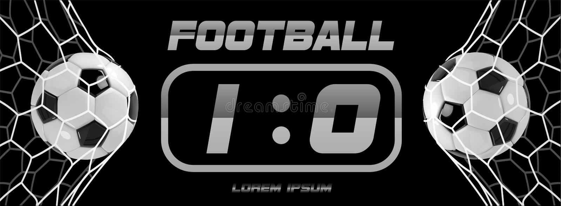 Insegna bianca di calcio o di calcio con la palla 3d e tabellone segnapunti su fondo bianco Momento di scopo della partita del gi illustrazione di stock