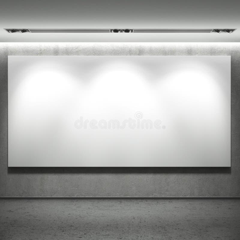 Insegna in bianco bianca sulla parete immagini stock