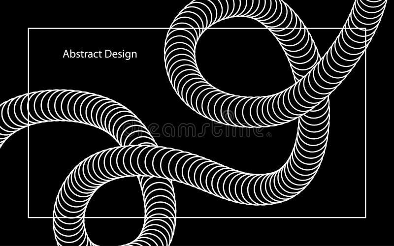 Insegna in bianco e nero di forma di turbinio torta estratto illustrazione di stock