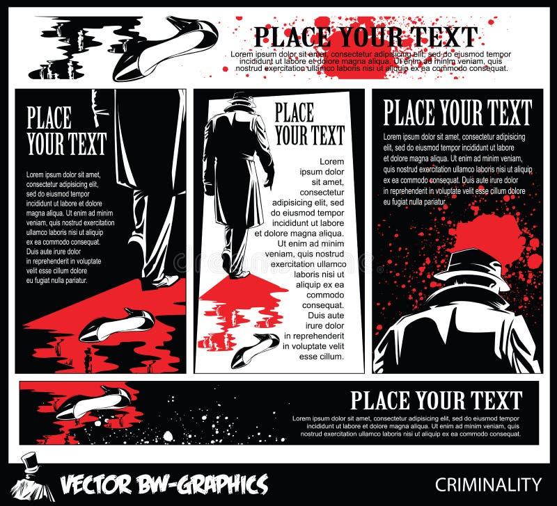 Insegna in bianco e nero di vettore L'uccisore lascia la scena del crimine illustrazione di stock