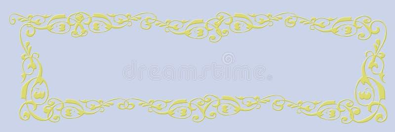 Insegna in bianco Fondo blu-chiaro con la struttura dorata fotografia stock