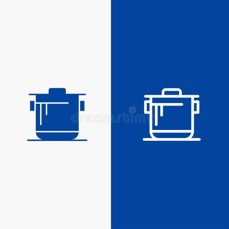 Insegna blu dell'icona solida del fornello, della cucina, del riso, del cuoco Line e di glifo illustrazione di stock