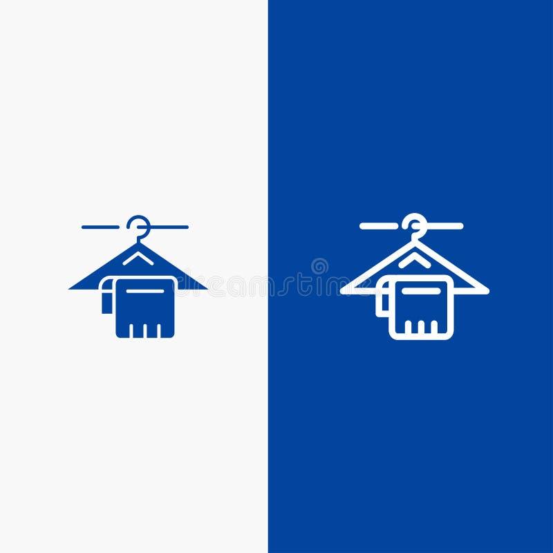 Insegna blu dell'icona solida del gancio, dell'asciugamano, di servizio, della linea dell'hotel e di glifo royalty illustrazione gratis