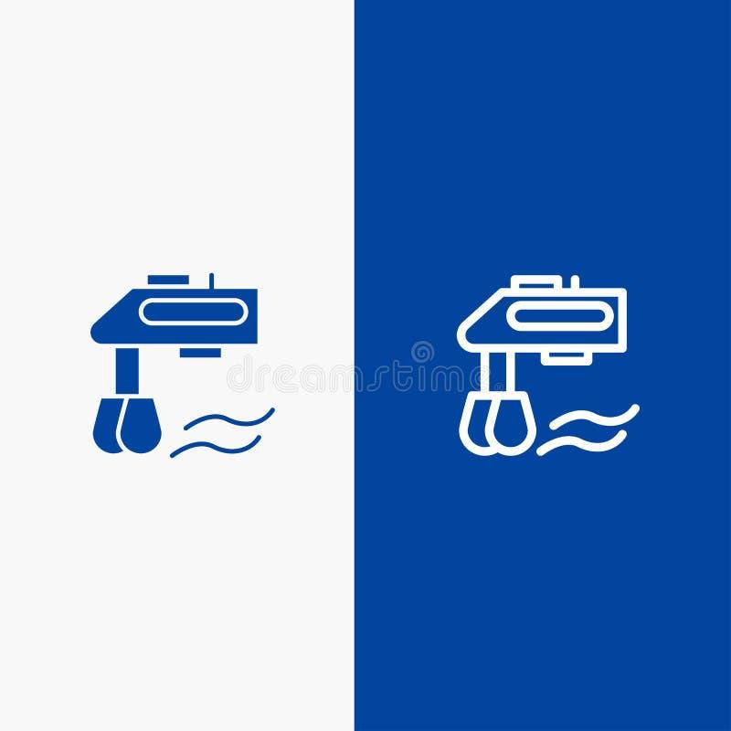 Insegna blu dell'icona solida del miscelatore, della cucina, del manuale, della linea del miscelatore e di glifo illustrazione di stock