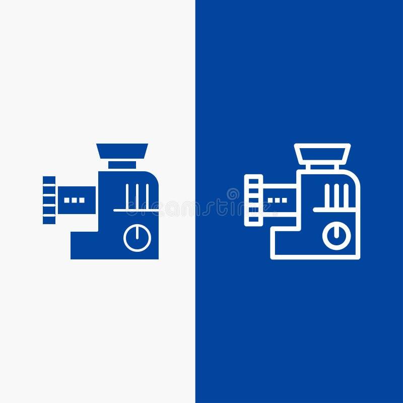 Insegna blu dell'icona solida del miscelatore, della cucina, del manuale, della linea della miscela e di glifo illustrazione vettoriale