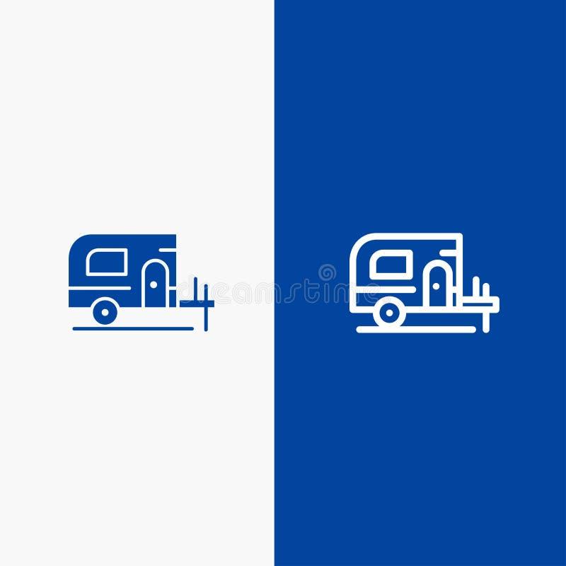 Insegna blu di insegna dell'icona solida dell'automobile, del campo, della linea della primavera e di glifo dell'icona solida blu illustrazione vettoriale