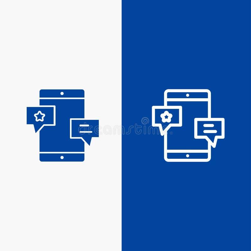 Insegna blu di insegna dell'icona solida di chiacchierata, della Comunità, di media, della rete, della linea di promozione e di g illustrazione di stock