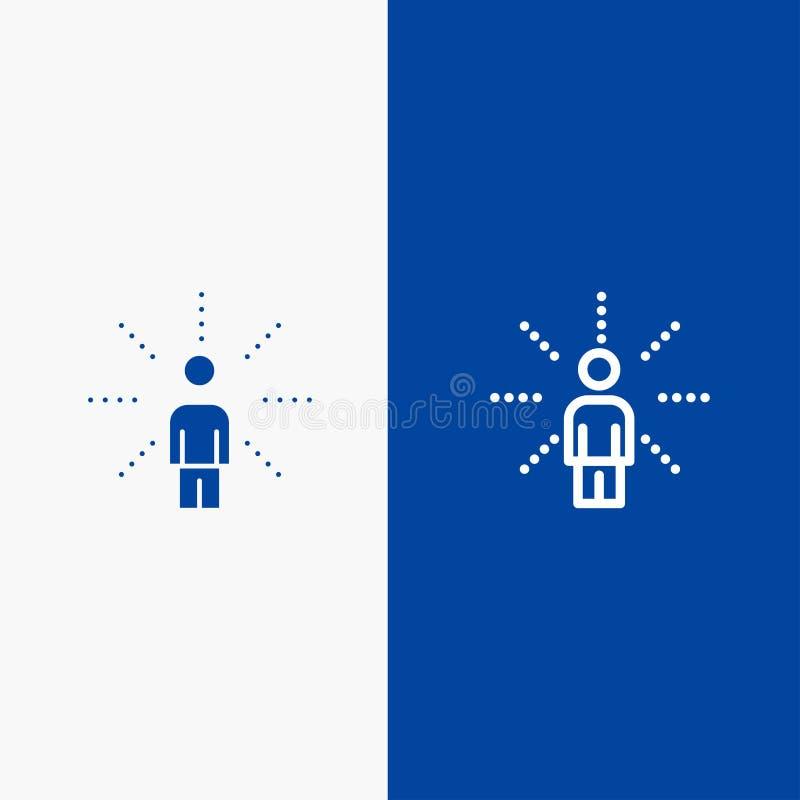Insegna blu di insegna dell'icona solida di consapevolezza, di tatto, dell'essere umano, di percezione, della linea di senso e di royalty illustrazione gratis