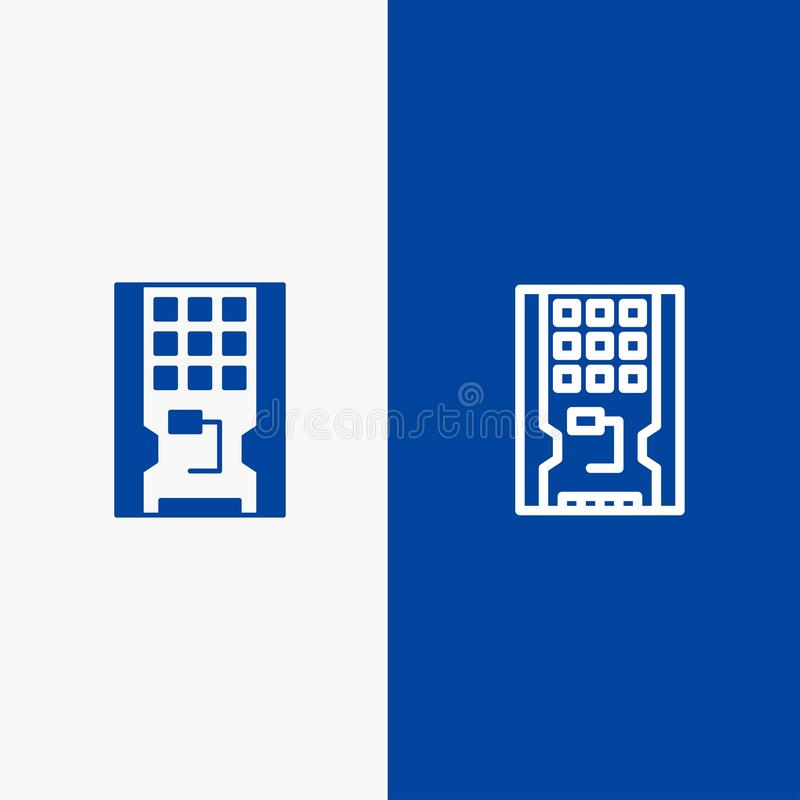 Insegna blu di insegna dell'icona solida del disco, dell'azionamento, dell'hardware, del solido, della linea dello SSD e di glifo illustrazione di stock