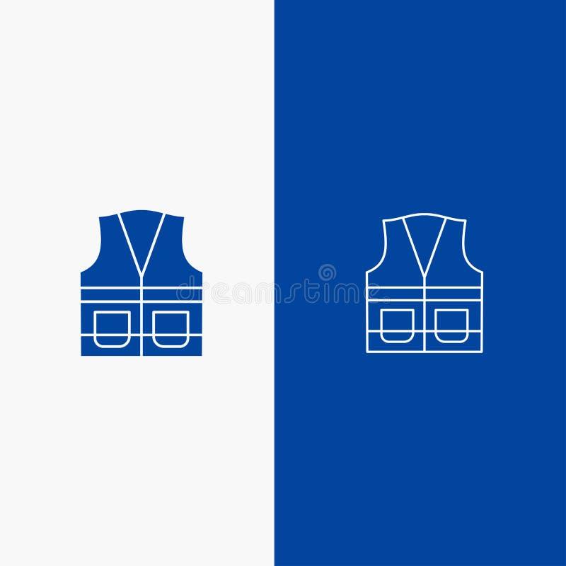Insegna blu di insegna dell'icona solida della maglia, del rivestimento, del lavoro, della costruzione, della linea di riparazion illustrazione di stock