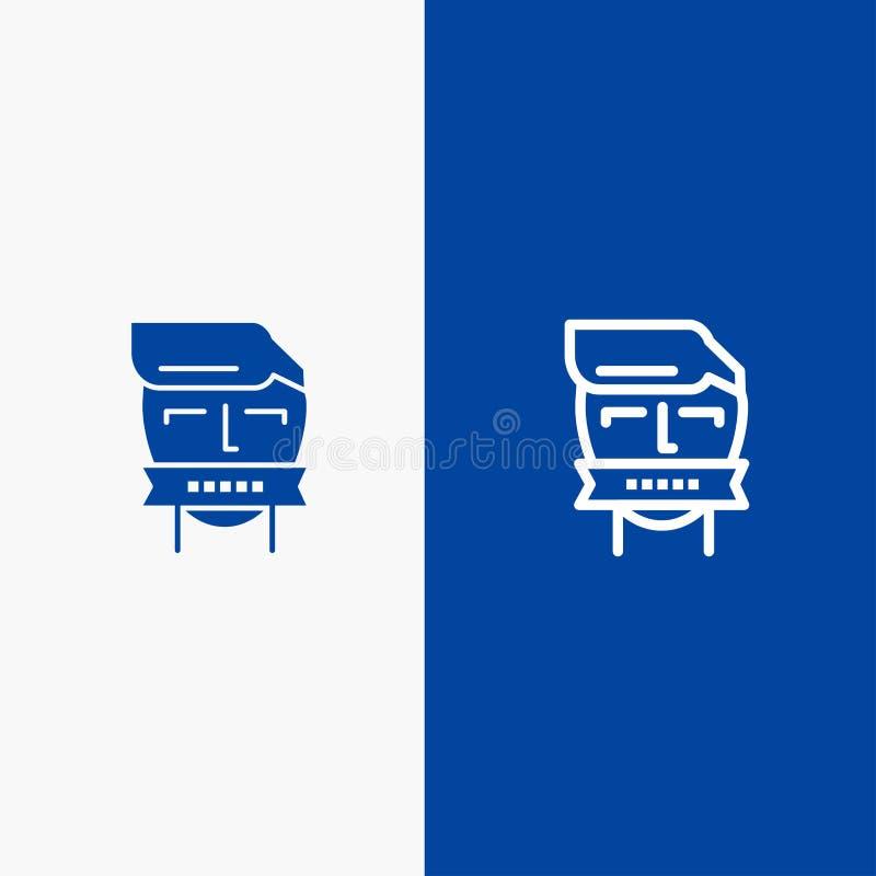 Insegna blu di insegna dell'icona solida dell'ostaggio, della bocca, avversario, chiusi, del terrorismo della linea e di glifo de illustrazione di stock