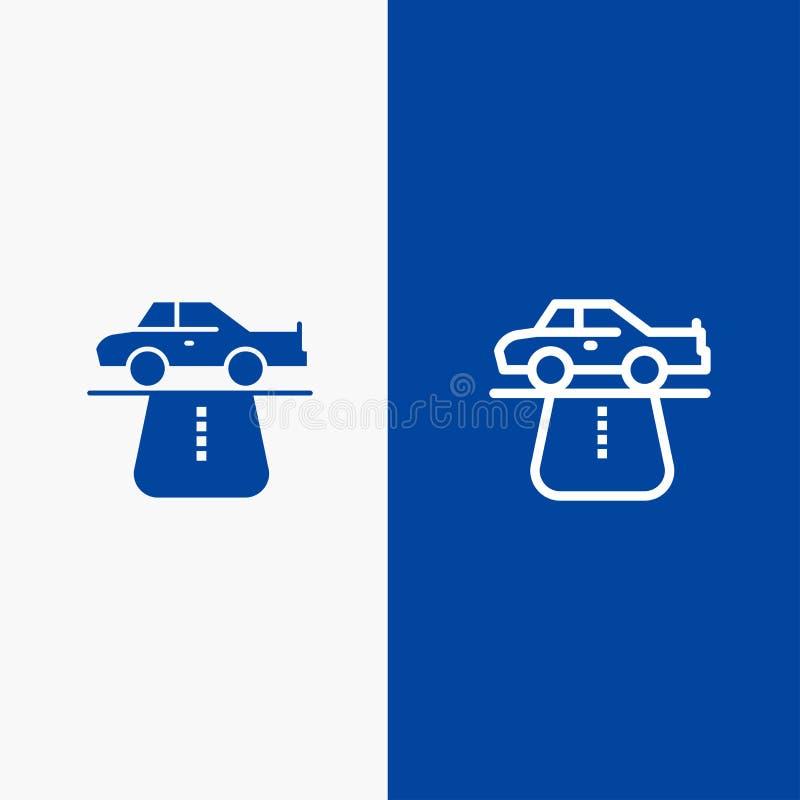 Insegna blu di insegna dell'icona solida di vantaggio, di autorità, dell'automobile, del tappeto, della linea di comodità e di gl illustrazione di stock