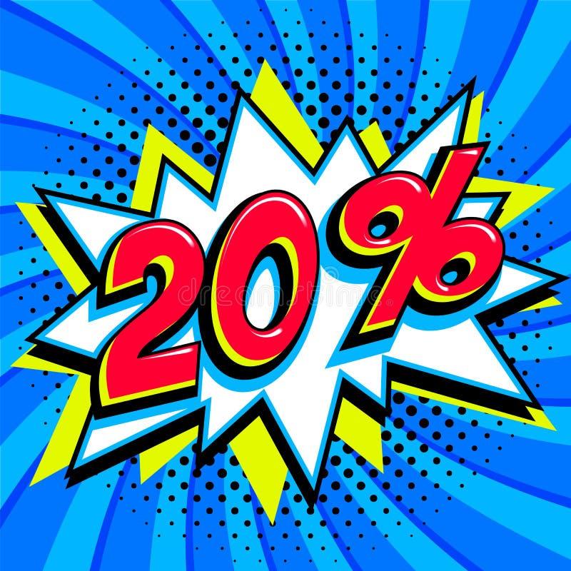 Insegna blu di web di vendita Per cento 20 di vendita venti fuori su una forma di colpo di stile di Pop art dei fumetti su fondo  royalty illustrazione gratis