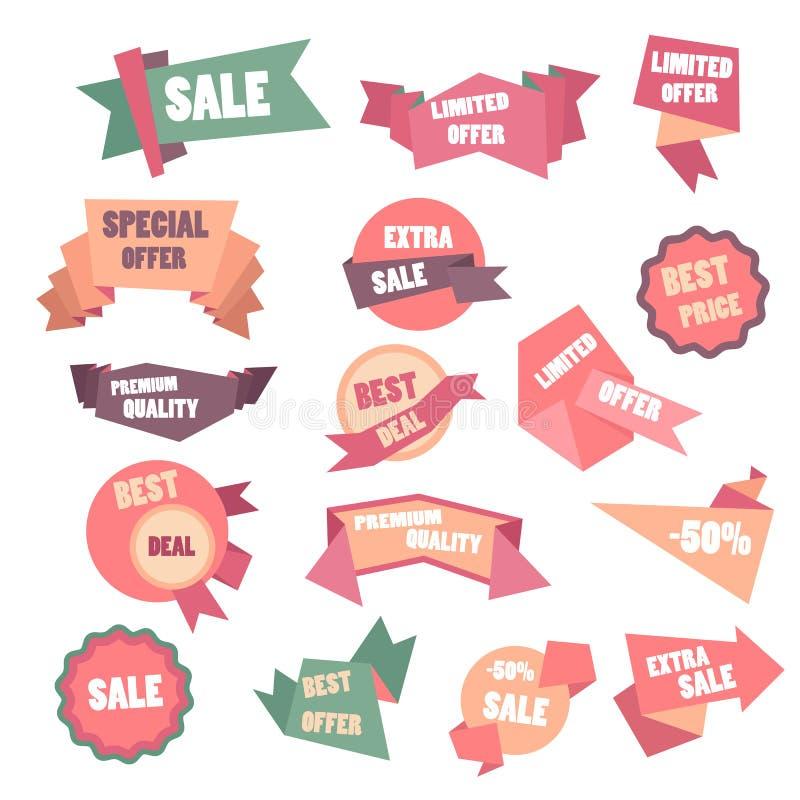 Insegna brillante di grande vendita eccellente su fondo variopinto Fondo di vendita Etichetta di progettazione geometrica Etichet illustrazione vettoriale