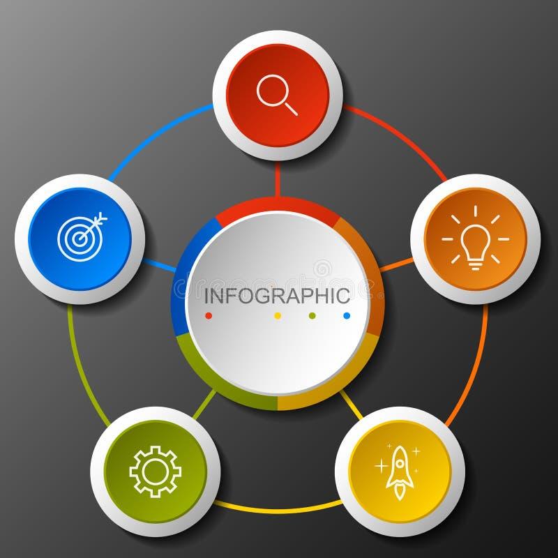 Insegna circolare di opzione di Infographic con di punto 5 royalty illustrazione gratis