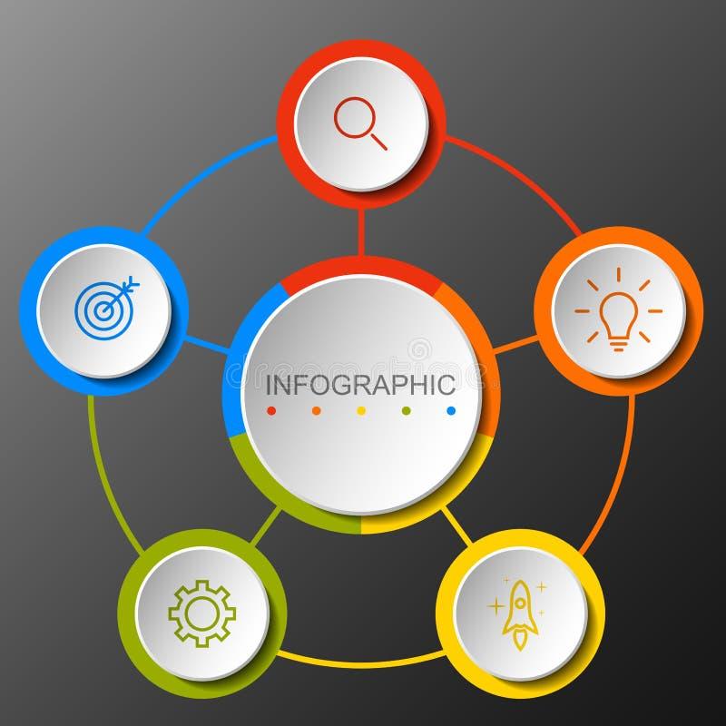 Insegna circolare di opzione di Infographic con di punto 5 illustrazione vettoriale