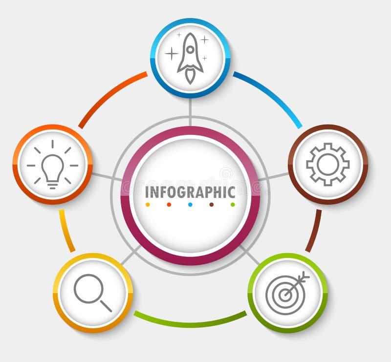 Insegna circolare di opzione di Infographic con di punto 5 illustrazione di stock