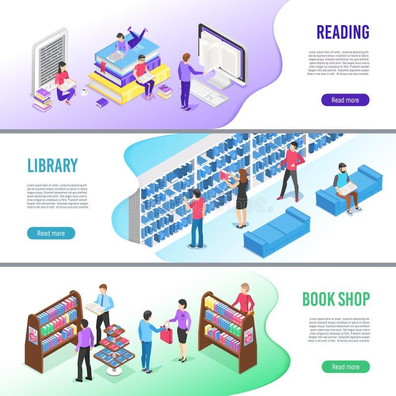 Insegna colta isometrica del libro La biblioteca online prenota con il segnalibro, il libro elettronico di lettura e le insegne d illustrazione vettoriale