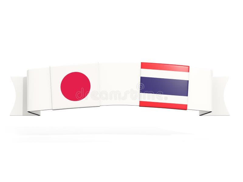 Insegna con due bandiere quadrate del Giappone e della Tailandia illustrazione di stock