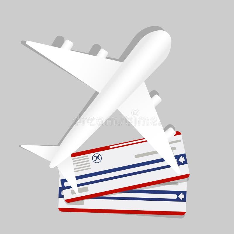 Insegna con due biglietti ed aerei del passaggio di imbarco internazionale volante di trasporto di consegna precisa dell'aeroplan illustrazione di stock