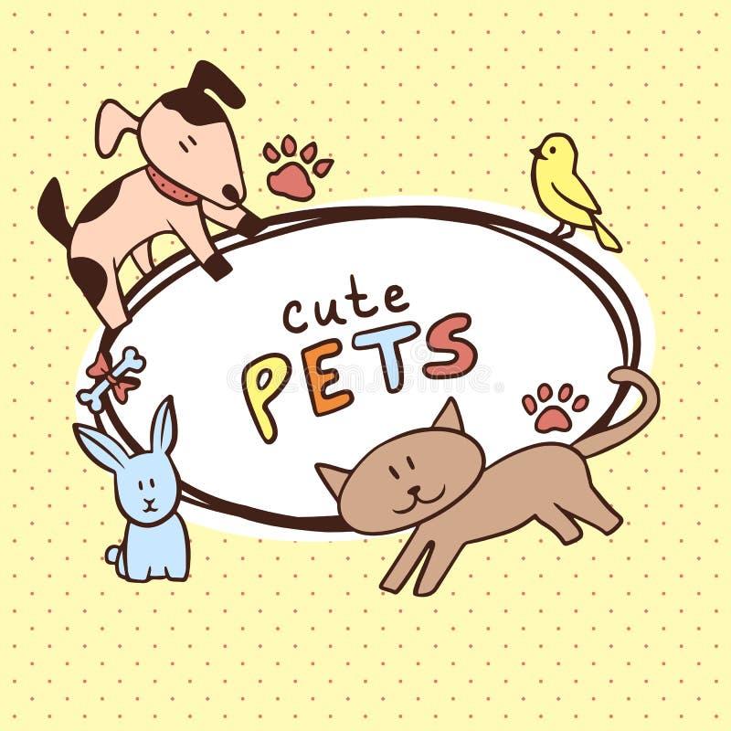 Insegna con gli animali domestici svegli illustrazione di stock