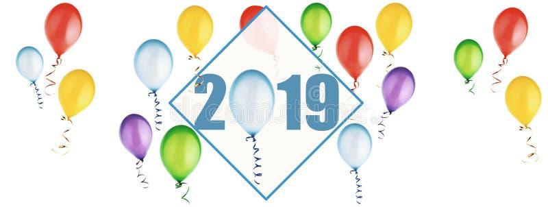 Insegna con i palloni per i nuovo 2019 anni illustrazione vettoriale