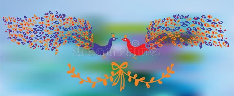 Insegna con i pavoni e l'elemento floreale illustrazione di stock